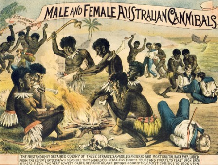 Male and female Australian Cannibals - 1885
